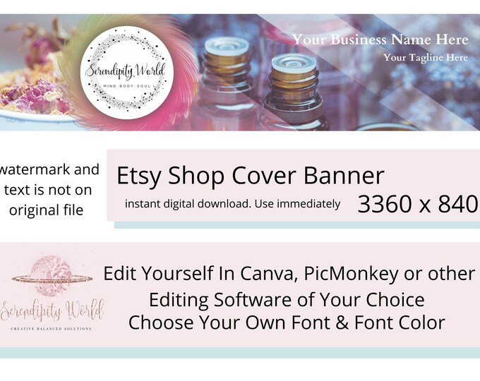 Aromatherapy Etsy Cover Photo, Essential Oil Etsy Premade Cover Image, Professional Etsy Shop Banner, Spiritual Business Branding