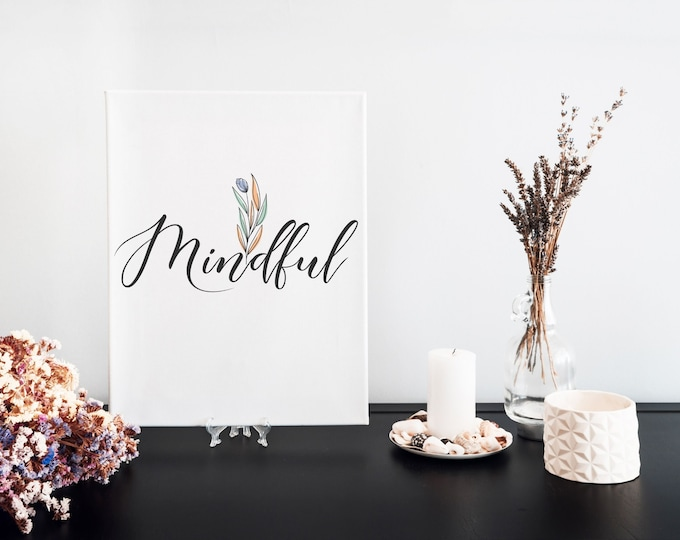 Mindful Typography Word Art Print, Focus Word, Motivational Mantra, Minimalist Word Art, Printable Word of the Year, Vision Board Artwork