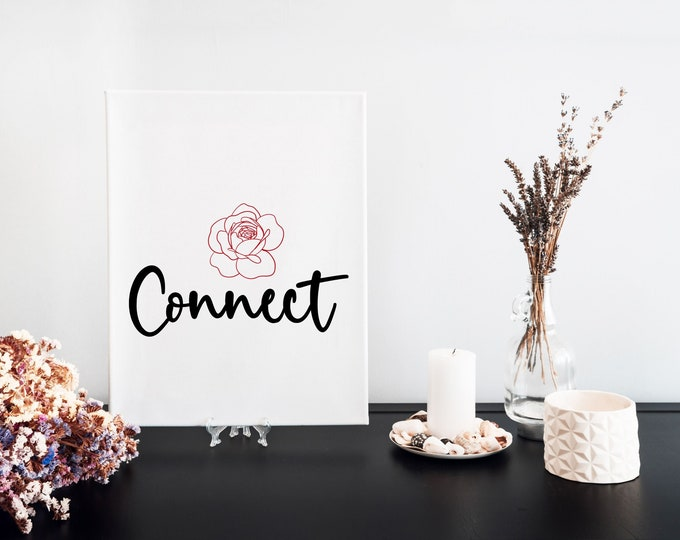 Connect Typography Word Art Print, Motivational Mantra, Desk Art, Minimalist Word Art, Printable Word of the Year, Vision Board Artwork