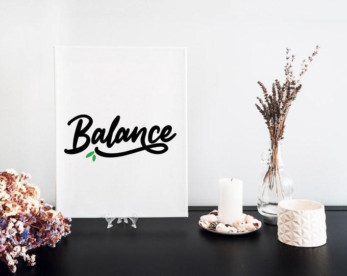 Balance Typography Focus Word Art Print, Printable Word of the Year, Vision Board Artwork, Motivational Mantra, Minimalist Word Art