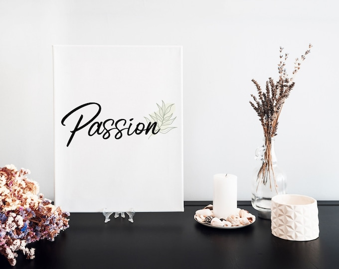 Passion Typography Word Art Print, Printable Focus Word of the Year, Minimalist Word Art, Vision Board Motivational Mantra, Desk Art