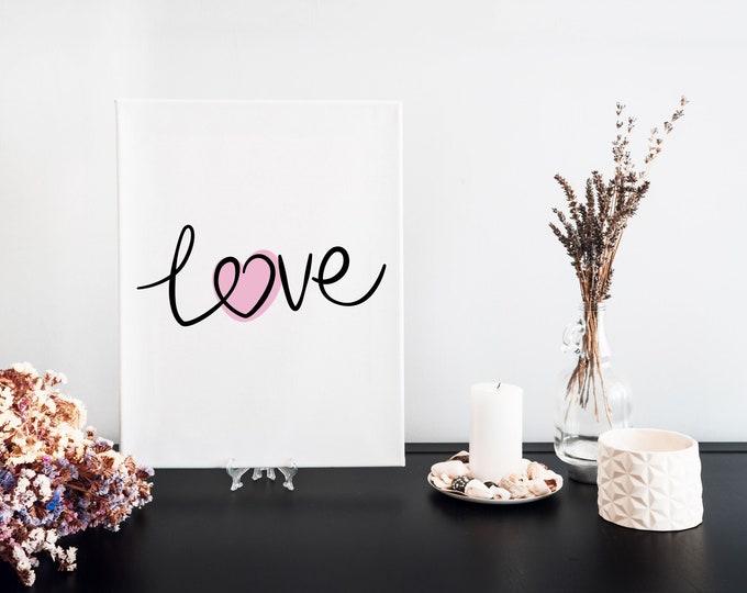 Love Typography Word Art Print, Motivational Mantra, Focus Words, Minimalist Word Art, Printable Word of the Year, Vision Board Artwork