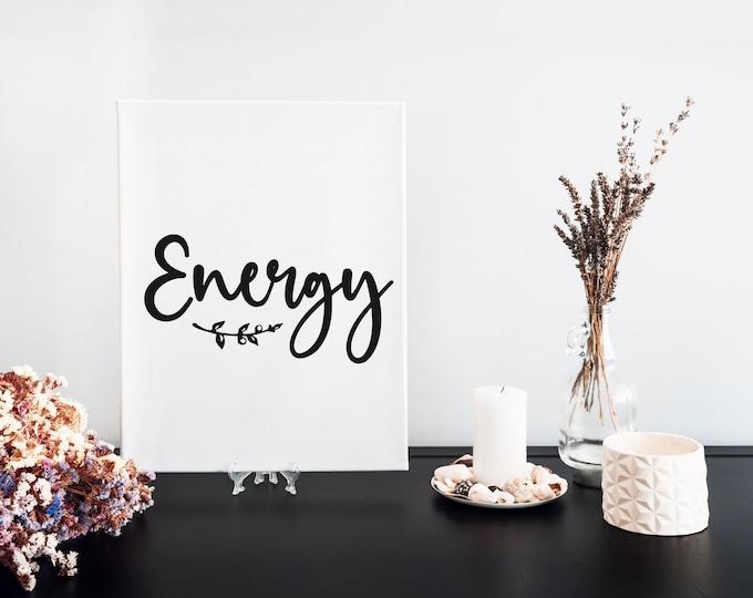 Energy Typography Word Art Print, Focus Words, Minimalist Word Art, Printable Word of the Year, Vision Board Artwork, Motivational Mantra