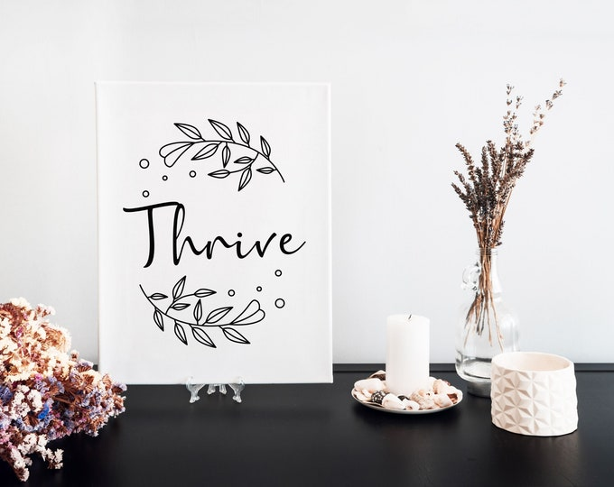 Thrive Typography Focus Word Art Print, Printable Word of the Year, Motivational Mantra, Minimalist Word Art, Vision Board Artwork
