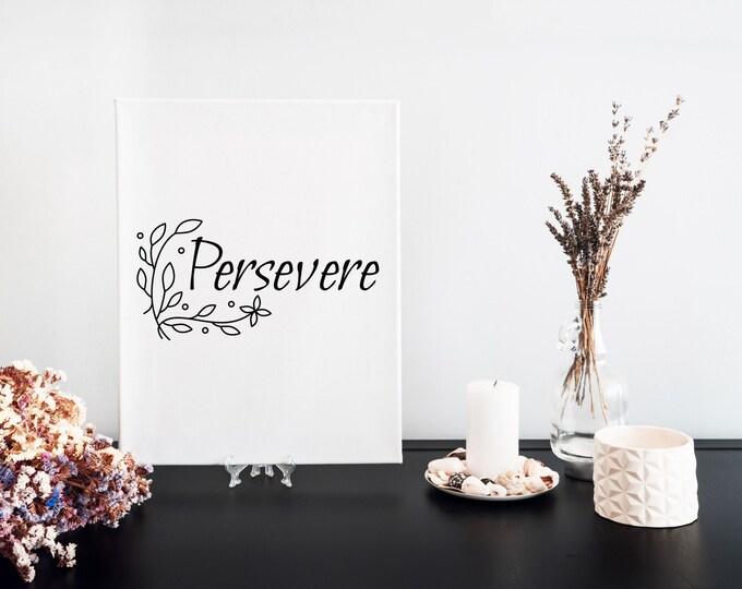 Persevere Typography Word Art Print, Focus Words, Minimalist Word Art, Printable Word of the Year, Vision Board Artwork, Motivational Mantra