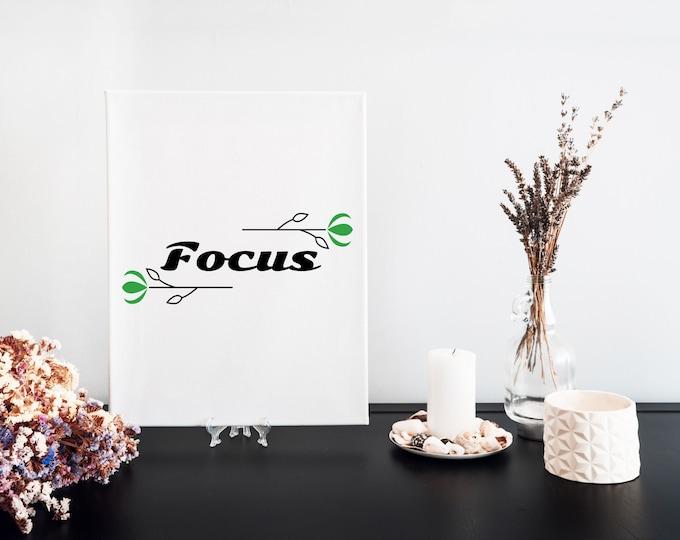 Focus Typography Word Art Print, Printable Word of the Year, Motivational Mantra, Minimalist Word Art, Vision Board Artwork, Desk Art Decor