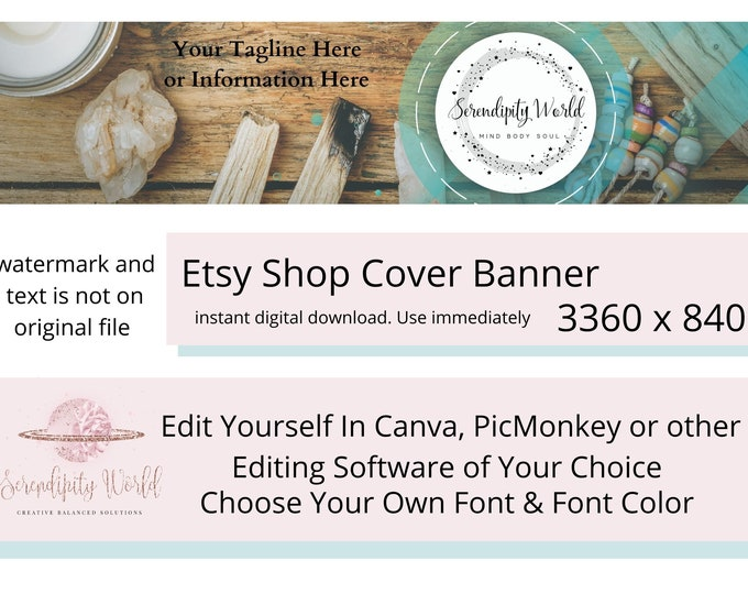 Spiritual Healing Etsy Cover Photo, Smudging Etsy Premade Cover Image, Citrine Crystal, Professional Etsy Shop Banner, Business Branding