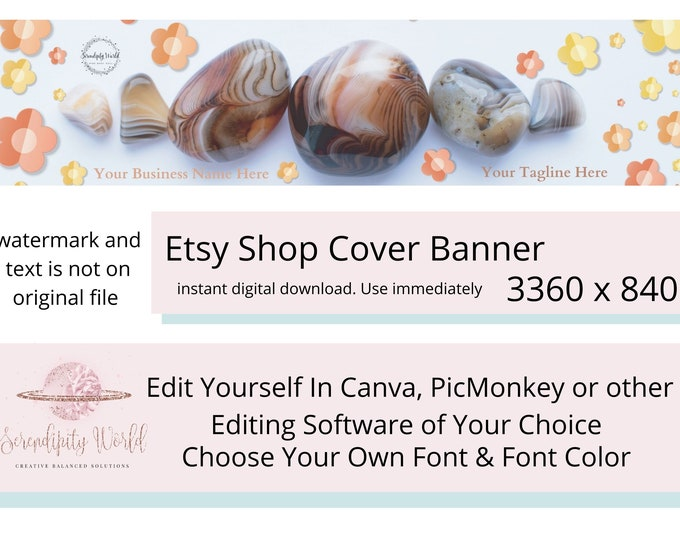 Healing Crystals Etsy Cover Photo, Gemstone Etsy Premade Cover Image, Spiritual Etsy Shop Banner, Professional Business Branding
