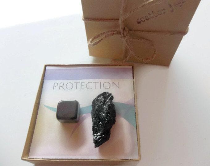 Protection Healing Crystal Stone Set, Raw Tourmaline Gemstone, Hematite Tumbled Gemstone