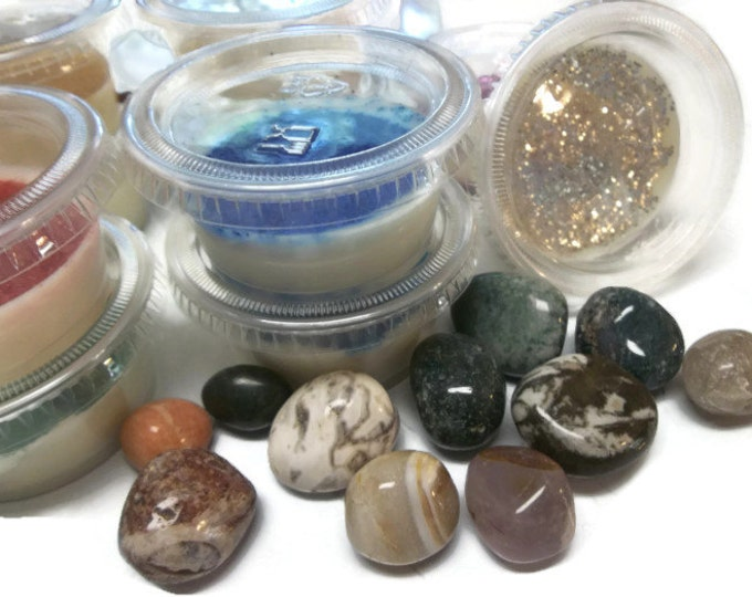 Soy Blend Candle Melts, Set of 10 With Crystal Inside, Unique Spiritual Gift