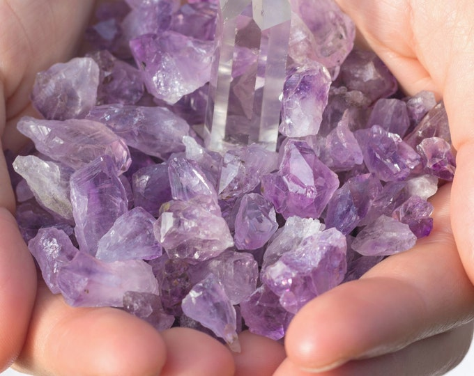 Amethyst Crystal Points, Raw Amethyst Stones, SET of 10, Small to Large, Metaphysical Supplies, Crystal Grid Stones, Natural Rough Stones