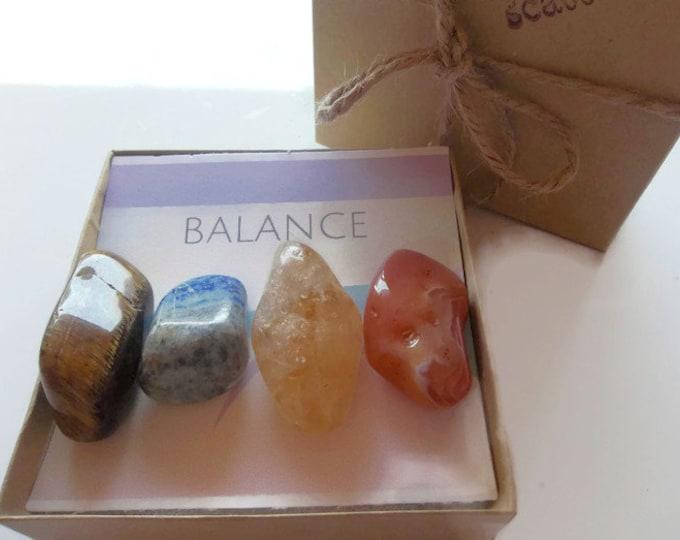 Balance Healing Crystal Stone Set, Tiger Eye Citrine Sodalite and Carnelian