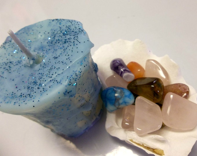 Glitter Votive Candle With Crystal Inside, Full Moon Rituals, Meditation & Manifesting