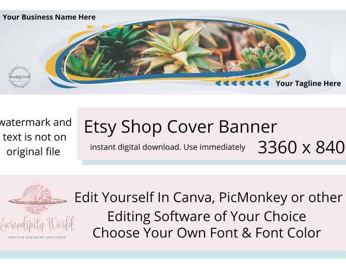 Succulent Etsy Cover Photo, Plant Etsy Premade Cover Image, Professional Etsy Shop Banner, Gardening Business Branding