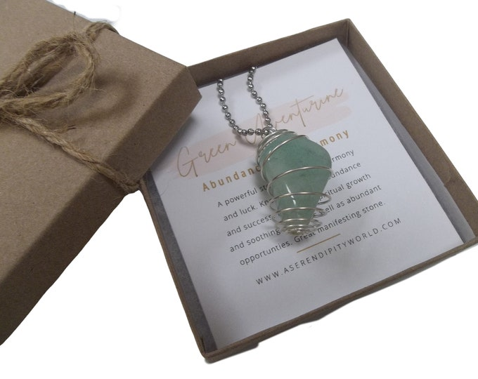 Green Aventurine Spiral Cage Pendant Necklace, Tumbled Stone With Crystal Card, Healing Abundance Growth