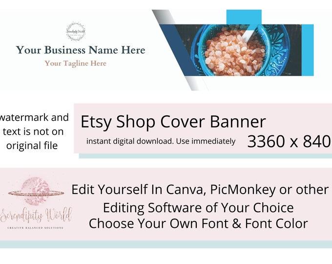 Relaxing Bath Salt Etsy Cover Photo, Bath & Body Etsy Premade Cover Image, Spiritual Etsy Shop Banner, Professional Business Branding
