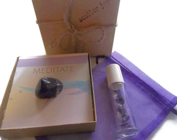 Amethyst Crystal & Gemstone Roller Bottle Set, Aromatherapy Meditation Healing