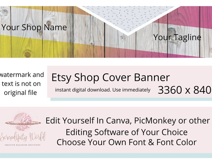 Stationery Etsy Cover Photo, Rustic Etsy Premade Cover Image, Wood Etsy Shop Banner, Business Branding