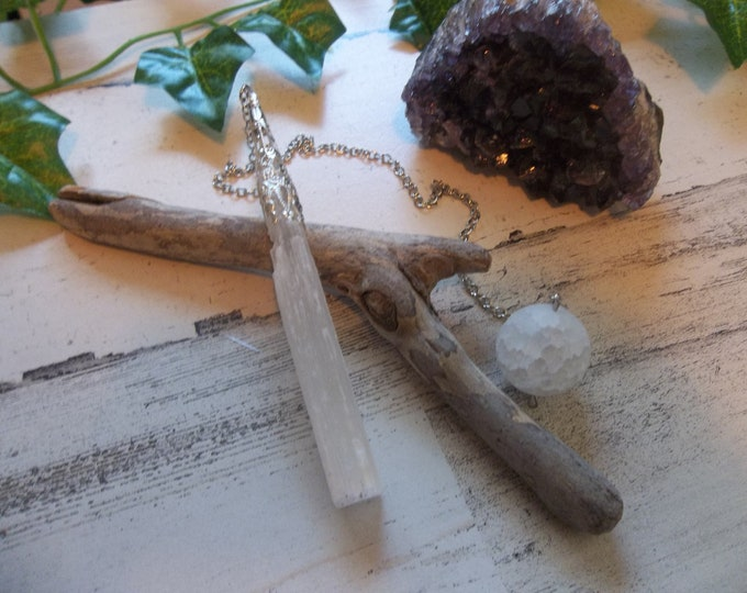 Raw Selenite Pendulum, Reiki Charged, Great for Readings & Dowsing, Silver Cap with Selenite Bead, High Vibration and Protection