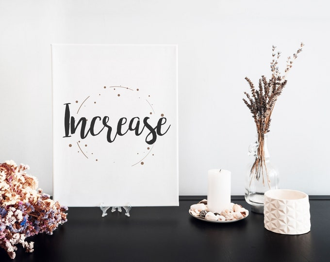 Increase Typography Word Art Print, Printable Word of the Year, Minimalist Word Art, Vision Board Artwork, Motivational Mantra, Desk Art