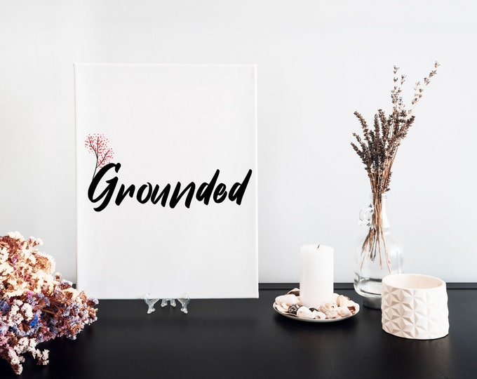 Grounded Typography Word Art Print, Vision Board Artwork, Motivational Mantra, Minimalist Word Art, Printable Word of the Year