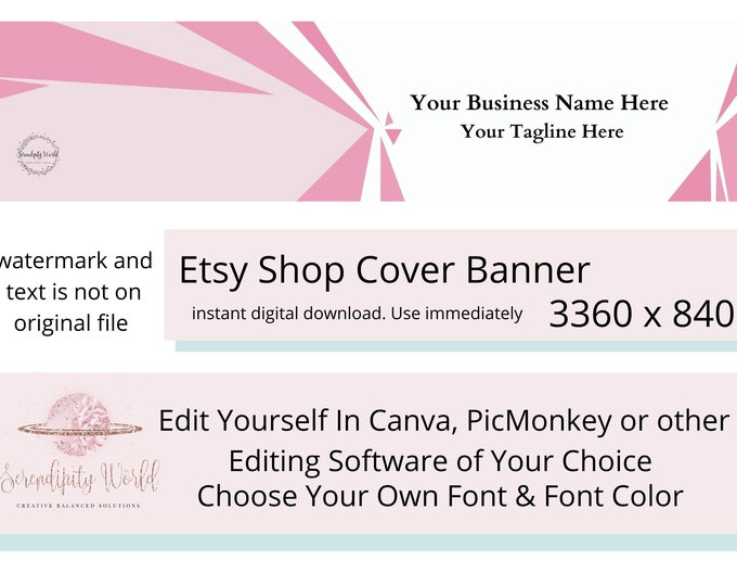 Pink Simple Etsy Cover Photo, Geometric Etsy Premade Cover Image, Professional Etsy Shop Banner, Modern Business Branding