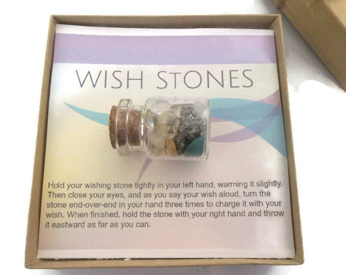 Prosperity Crystal Wish Bottle, Gemstone Chip Mini Stone Set