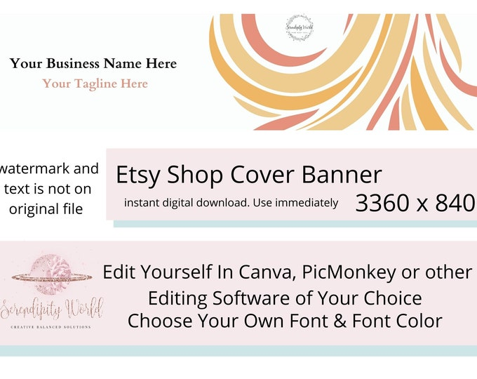 Simple Etsy Cover Photo, Minimalist Etsy Premade Cover Image, Boho Style, Professional Etsy Shop Banner, Business Branding