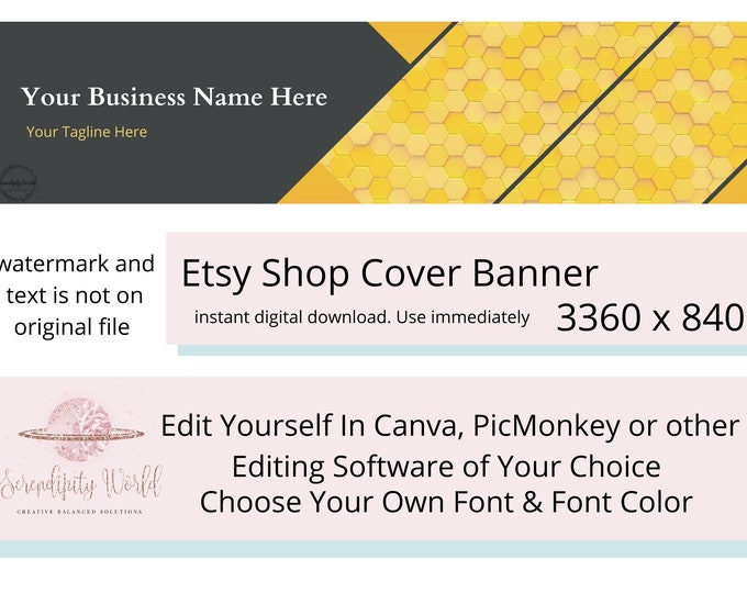 Etsy Cover Photo, Honeycomb Etsy Premade Cover Image, Geometric Banner, Professional Etsy Shop Banner, Business Branding