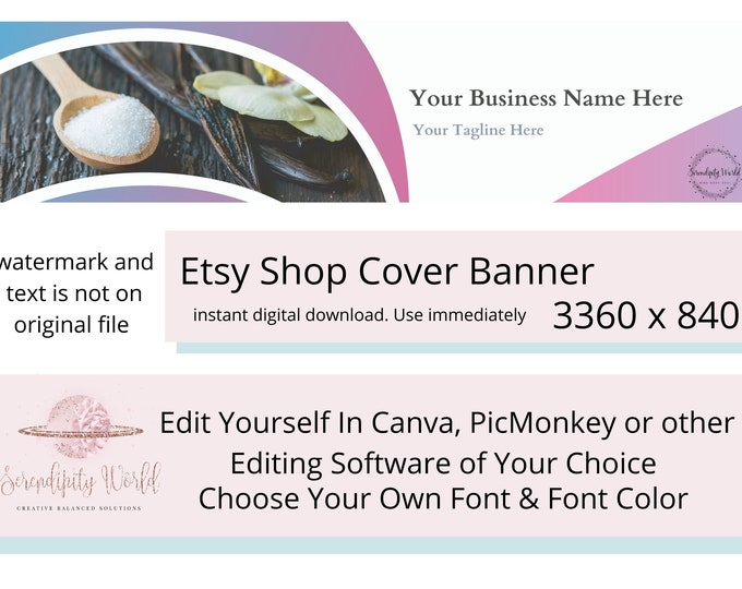 Herb Etsy Cover Photo, Colorful Bath Salt Etsy Premade Cover Image, Professional Etsy Shop Banner, Spiritual Business Branding