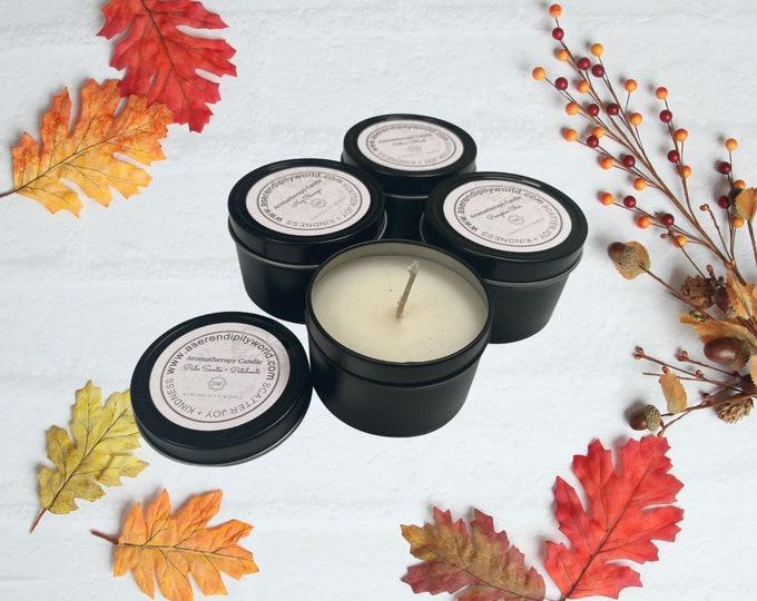 Pumpkin Chai Soy Blend Candle, Fall Scents, 4 oz Black Travel Tin, Rustic Farmhouse Home Decor