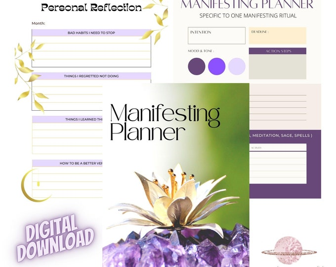 Digital Manifesting Planner, Instant Download Self Transformation, Meditation Journal, Intention Rituals, Goal Planner, Law of Attraction