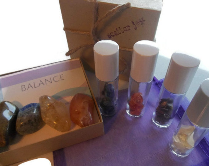 Healing Crystals With Gemstone Roller Bottle Set, Aromatherapy Roll On Perfume