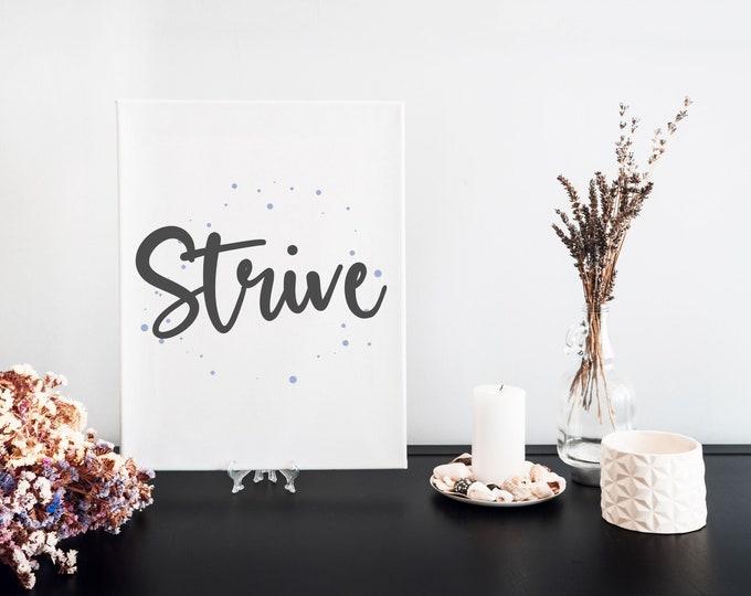 Strive Typography Word Art Print, Focus Words, Vision Board Artwork, Motivational Mantra, Minimalist Word Art, Printable Word of the Year