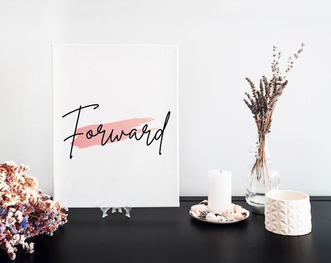 Forward Typography Word Art Print Digital Download, Minimalist Word Art, Word of the Year, Vision Board Artwork, Empowering Mantra
