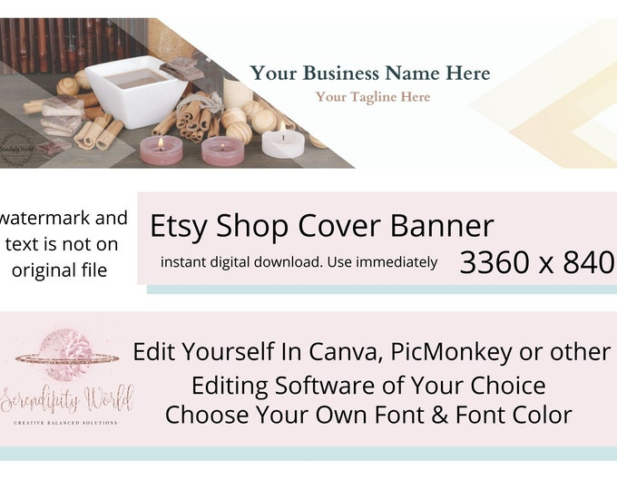 Candle Etsy Cover Photo, Aromatherapy Etsy Premade Cover Image, Spiritual Etsy Shop Banner, Professional Business Branding