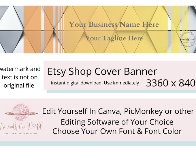 Geometric Etsy Cover Photo, Silver Etsy Premade Cover Image, Yellow Etsy Banner, Professional Etsy Shop Banner, Business Branding