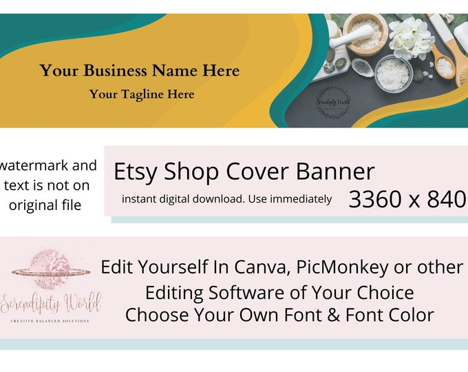 Etsy Cover Photo, Bath Salts Crystals & Herbs, Etsy Premade Cover Image, Professional Etsy Shop Banner, Spiritual Business Branding