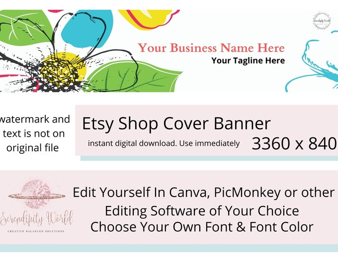 Floral Etsy Cover Photo, Flower Etsy Premade Cover Image, Professional Etsy Shop Banner, Colorful Business Branding