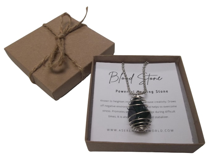 Blood Stone Spiral Cage Pendant Necklace, Courage + Creativity, Tumbled Stone With Crystal Card