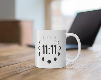 Moon Phase With Master Number Ceramic Mug 11oz, Spiritual Coffee Mug, Full Moon Hot Tea Cups, New Moon Mugs, 11 11 Spiritual Gifts