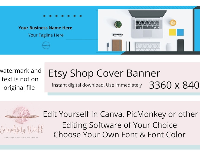 Styled Desktop Etsy Cover Photo, Graphic Art Design Etsy Premade Cover Image, Professional Etsy Shop Banner, Business Branding