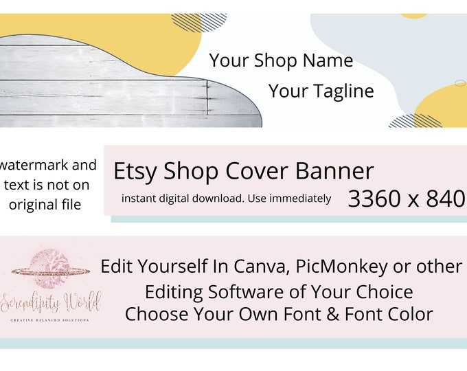 Gray Wood Etsy Cover Photo, Rustic Etsy Premade Cover Image Yellow, Professional Etsy Shop Banner, Business Branding