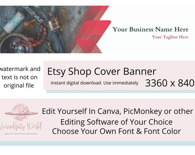 Etsy Cover Photo, Tribal Etsy Premade Cover Image, Spiritual Etsy Shop Banner, Professional Business Branding