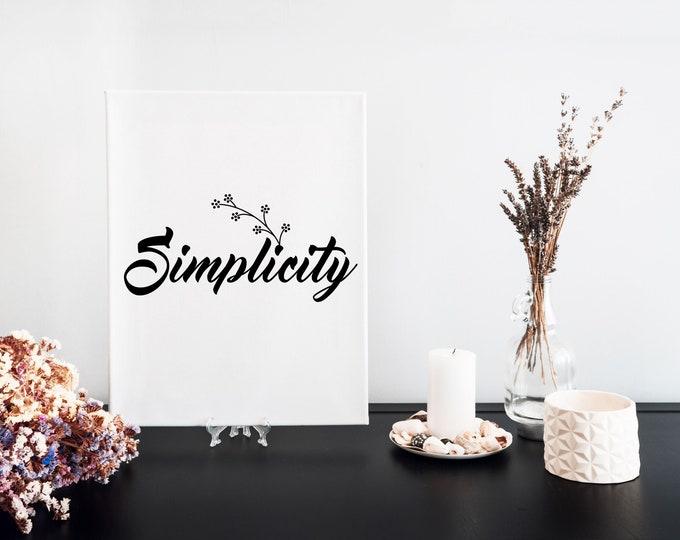 Simplicity Typography Word Art Print, Printable Focus Word of the Year, Minimalist Word Art, Vision Board Motivational Mantra, Desk Art