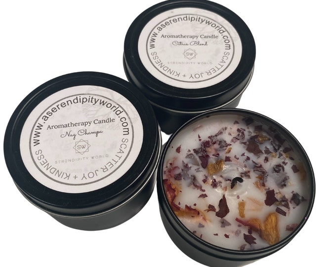 4 oz Soy Blend Candle, Dried Rose Bud & Leaves Herbal Alchemy, Great for Meditation and Manifesting Rituals