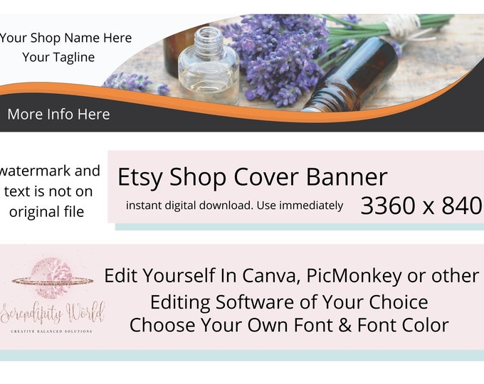 Aromatherapy Etsy Cover Photo, Floral Banner, Essential Oil Etsy Premade Cover Image, Etsy Shop Banner, Spiritual Business Branding