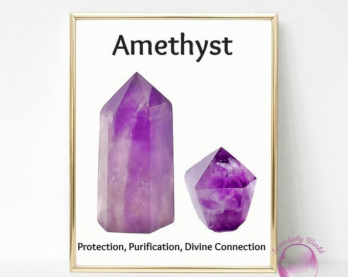 Amethyst Crystal Point Wall Art Print, Crystal Desk Art, Amethyst Gemstone Printable, Watercolor Gemstone, Spiritual Crystal, Wall Art Decor