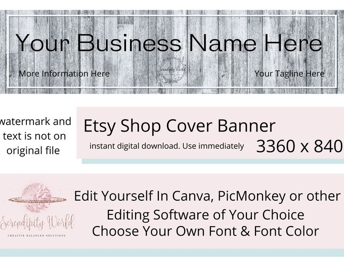 Gray Wood Etsy Cover Photo, Rustic Etsy Premade Cover Image, Professional Etsy Shop Banner, Business Branding