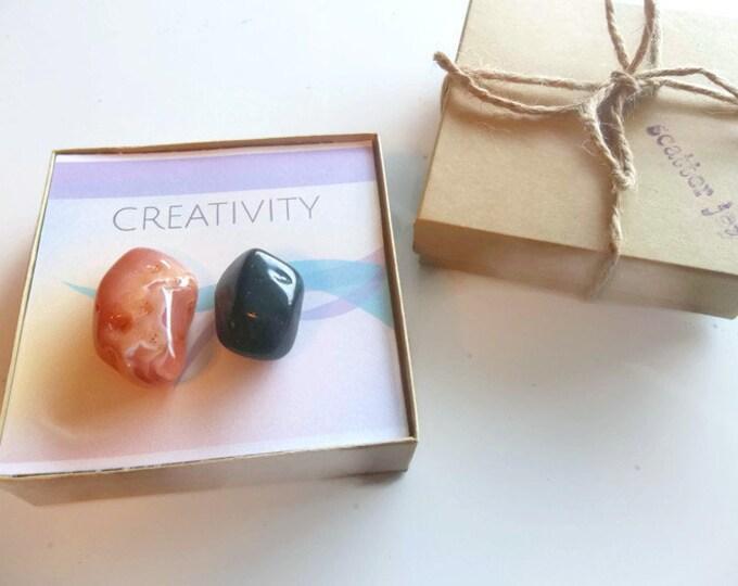 Creativity Healing Crystal Stone Set, Blood Stone Crystal, Carnelian Tumbled Gemstone